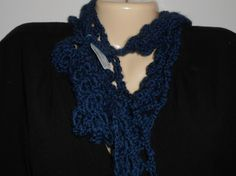 Dark blue scarflette with matching head band with flowers for girls.  Lacy crocheted fashion scarflette//gift for girls//Christmas gift by CrochetByTeresa on Etsy