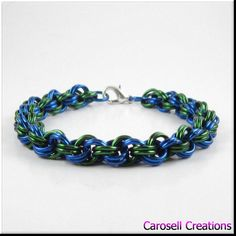 Chainmaille Bracelet Blue and Green Double Spiral by carosell TAGS - Jewelry, Bracelets, Chain bracelet, Link Bracelet, carosell creations, chain bracelet, chainmaille bracelet,  chainmail bracelet, chain mail bracelet, mens bracelet, chainmaille jewelry, blue and green, spiral bracelet,  blue bracelet, green bracelet, chain jewelry, link bracelet, unisex bracelet, etsy, handmade, women, ladies, accessories