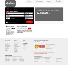 Malaysia-based low-cost airline AsiaAir lost a plane above the Java sea on December 28th 2014. This is the homepage (location Australia), the following day. http://www.airasia.com/au/en/home.page