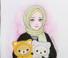 Hijab Drawing, Manga Drawing, Muslim Images, Anime Muslim, Hijab Cartoon, Girls Anime, Cartoon Sketches, Bullet Journal Art, Illustration Girl