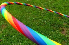 NEON Rainbow - skinny Striped Hula Hoop, all gaffer's grip tape on 1/2 inch tubing