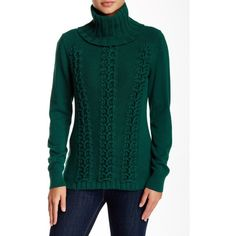 Lafayette 148 Mix Knit Cashmere Turtleneck Sweater ($170) ❤ liked on Polyvore featuring tops, sweaters, emerald, cable knit sweater, cable knit turtleneck, green knit sweater, knit turtleneck sweater and knit sweater