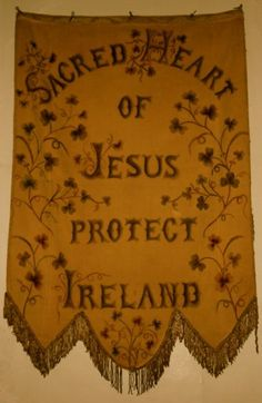 Old Irish banner. From a blog about Catholic Ireland ...  http://corjesusacratissimum.org/2015/07/a-tale-of-two-books/