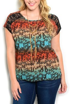 DHStyles Women's Rust Aqua Plus Size Trendy Sheer Tribal Lace Ombre Top #sexytops #clubclothes #sexydresses #fashionablesexydress #sexyshirts #sexyclothes #cocktaildresses #clubwear #cheapsexydresses #clubdresses #cheaptops #partytops #partydress #haltertops #cocktaildresses #partydresses #minidress #nightclubclothes #hotfashion #juniorsclothing #cocktaildress #glamclothing #sexytop #womensclothes #clubbingclothes #juniorsclothes #juniorclothes #trendyclothing #minidresses #sexyclothing…