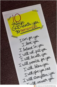 """""""10 Things God wants you to remember""""! I always love going back to this pin! One of my designs that is available for sale 