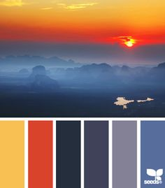 Rising hues - sunset and smoky mountains indigo colour, design seeds, blue home decor Colour Pallette, Colour Schemes, Color Patterns, Color Combos, Sunset Color Palette, Sunset Colors, Blue Home Decor, Colour Board, Color Swatches
