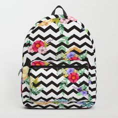 A tropical flowers in black and white zigzag. Striped Backpack, Art Bag, Tropical Flowers, Zig Zag, Cool Art, Backpacks, Black And White, Bags, Beautiful