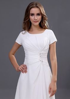2013 New Arrival Short Sleeves Square White chiffon Ankle Length Mother of the Bride Dress / Floor length is Available DIB120092 - Dressesinbuy.com