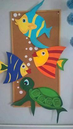 """Under the Sea"" Peel & Stick Boys Ocean Nursery Wall Decals - Bastelideen kinder unterwasserwelt - Meer School Board Decoration, School Decorations, Paper Crafts For Kids, Fun Crafts, Arts And Crafts, Fish Paper Craft, Children Crafts, Art Wall Kids, Art For Kids"