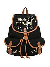 Harry Potter Mischief Managed Slouch Backpack,