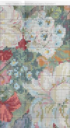 Gallery.ru / Фото #1 - цветы 6 - koreianka Cross Stitch Flowers, Cross Stitch Patterns, Needlework, Quilts, Clever, Embroidery, Diy, Cross Stitch Embroidery, Bouquets