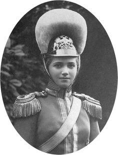 Marie Nikolaievna Romanov wearing the uniform of her regiment.