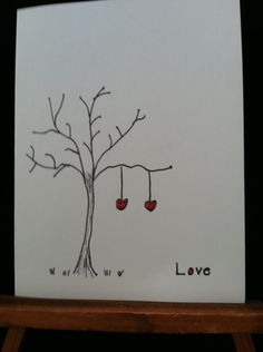 Handmade, hand drawn Valentine Card. via Etsy.