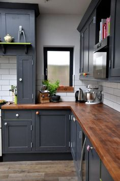 Image result for dark wood and blue cabinets