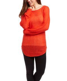 Tangerine Heat Sheer Ribbed Boatneck Sweater #zulily #zulilyfinds