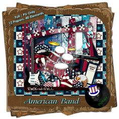 Musical themed digital patriotic scrap kit composed of 12 (3600 x 3600 pixel, .jpg) papers and 40 .png elements. 300 DPI. Personal use only. Also available in tagger size.