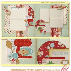 Homemade with Love 2-Page Scrapbook Layout Kit, complete with instructions, by PaisleysandPolkaDots.com for a limited time featured at www.s...