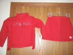Gymboree Toddler Girls Size 4 Red KISS Hearts Longsleeved Jacket Red Skort #Gymboree