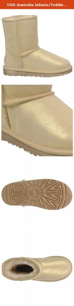 """UGG Australia Infants/Toddlers Classic Glitter Toddler,Gold,US 7 M. For children's sizes 13 to 4 please enter """"Classic Glitter Little Kids"""" in the search box above. For children's sizes 5 and 6 please enter """"Classic Glitter Big Kids"""" in the search box above. The Classic Glitter pleases with the warmth and comfort of the UGG® Classic Collection. Soft Twinface sheepskin sparkles with an allover glitter application, while its moisture-wicking interior and added foam deliver all-day comfort."""