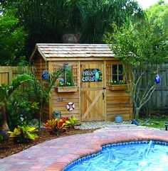 Cedarshed DIY Pool Cabanas make an excellent backyard swimming pool house and small storage shed. Cabana kits are available in 4 prefabricated designs with plans. Pool Storage, Shed Storage, Bike Storage, Outdoor Storage, Storage Spaces, Pool House Shed, House Roof, Pool Changing Rooms, Small Pool Houses