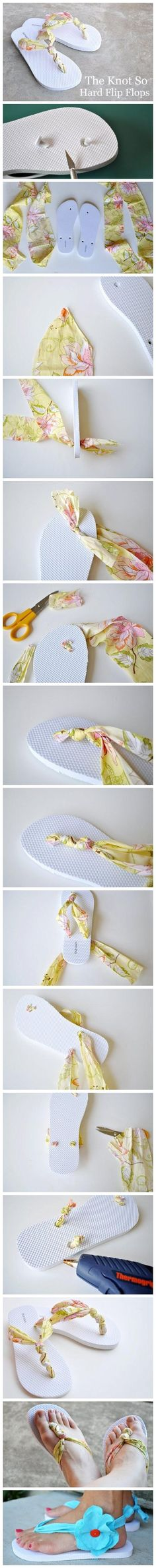 DIY Recycled Flip-Flops.  Make brand new flip-flops with your broken flip-flops with several strips of material.