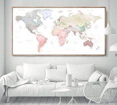 World Map Poster world map wall art Framed World Map, World Map Wall Art, World Map Poster, Framed Maps, Framed Wall Art, Map Projects, House Projects, World Map Decor, Pastel