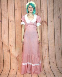 70s Gingham Plaid Prairie Maxi Dress Ruffle Lace Dress Peter Pan Collar Gunne Sax Style Bergdorf's Vintage Deadstock Dress (XS/s)