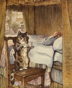 """* Simpkin in """"The Tailor of Gloucester"""" a children's book written and illustrated by Beatrix Potter, privately printed by the author in 1902, and published in a trade edition by Frederick Warne Co. in October 1903. The story is about a tailor whose work on a waistcoat is finished by the grateful mice he rescues from his cat and was based on a real world incident involving a tailor and his assistants. For years, Potter declared that of all her books it was her personal favourite"""