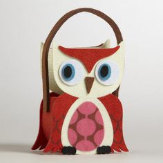 One of my favorite discoveries at WorldMarket.com: Orange Wing Owl Felt Container
