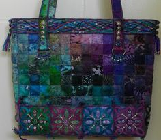 by the talented Marilyn Pretorius, Port Elizabeth, South Africa Port Elizabeth South Africa, South African Art, Suitcase Bag, Pretty Hands, Fabric Bags, Quilted Bag, Beautiful Bags, Textile Art, Welcome