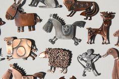 Assorted animal brooches in copper & oxidise silver finishes