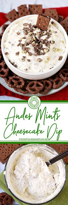 This Andes Mint Cheesecake Dip is a quick & easy holiday dessert dip that comes together in 10 minutes! It's creamy, delicious and has a hint of Créme de Menthe flavor. #dessert #dessertrecipe #appetizer #Christmas #ChristmasRecipe