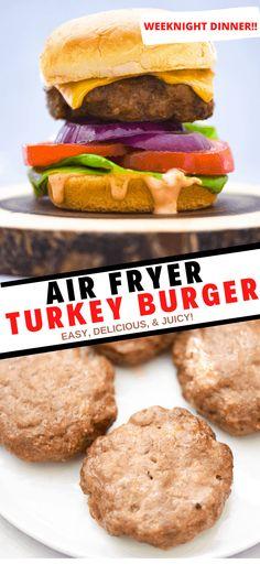 Homemade Turkey Burgers, Turkey Burger Recipes, Hamburger Recipes, Chicken Recipes, Entree Recipes, Easy Dinner Recipes, Summer Recipes, Dinner Ideas, Burger Cook Time
