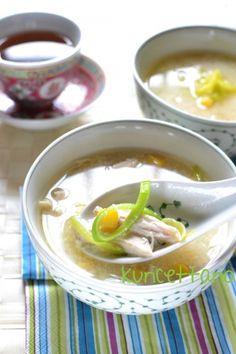 ricetta, ricette, zuppa, cinese, pollo, avanzi, mais, porri