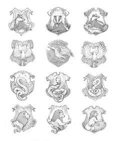 hogwarts house crests pottermore - Google Search