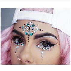 Face Jewels EDC Rave outfits, Festival Diamond Face Sticker, Adhesive Makeup rhi… – My CMS Festival Gems, Festival Face Jewels, Festival Make Up, Coachella Make-up, Make Carnaval, Festival Makeup Glitter, Face Jewellery, Diamond Jewellery, Rave Makeup