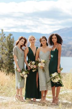 Browse our selection of beautiful bridesmaid dresses in various lengths, styles, shades, and limited edition prints. Mixed Bridesmaid Dresses, Mix Match Bridesmaids, Wedding Bridesmaids, Different Colour Bridesmaid Dresses, Green Bridesmaids, Bridal Party Poses, Wedding Party Dresses, Wedding Attire, Sage Green Wedding