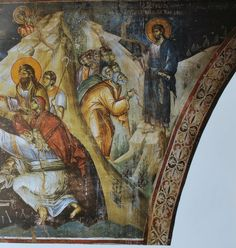 Christ Appearing to the Disciples on a Mountain in Galilee.Athos by Manuel Panselinos century. Life Of Christ, Byzantine Icons, Mural Art, Murals, Orthodox Icons, Christian Art, Illuminated Manuscript, Fresco, Holi