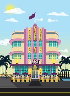 Art Deco Hotels illustration by Alex Asfour