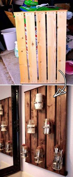 27 Beautiful DIY Bathroom Pallet Projects For a Rustic Feel Pallet Home Decor, Pallet Crafts, Diy Pallet Projects, Pallet Furniture, Pallet Desk, Pallet Bathroom, Bathroom Ideas, Garden Crafts For Kids, Palette Diy