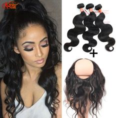 Peruvian Body Wave With 360 Lace Frontal 3 Bundles Human Hair With Ear To Ear 360 Lace Closure 360 Lace Frontal With Baby Hair >>> Details can be found by clicking on the image.