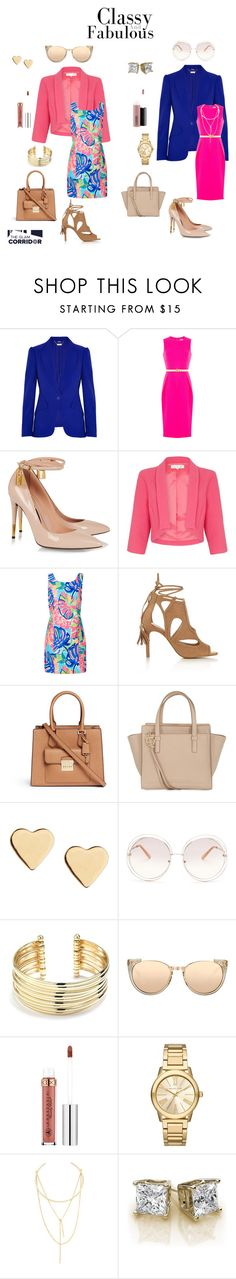 """""""Pretty in pink...and blue"""" by theglamcorridor ❤ liked on Polyvore featuring Alexander McQueen, Michael Kors, Tom Ford, Damsel in a Dress, Lilly Pulitzer, Miss Selfridge, Salvatore Ferragamo, Lipsy, Chloé and Belk Silverworks"""