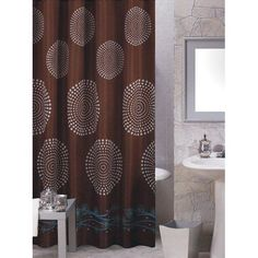 Carnation Home Fashions Hanover Brown Contemporary Fabric Shower Curtain | from hayneedle.com