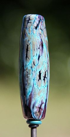 Blue Cave Paintings Handmade Lampworked Glass Bead by ninaeagle