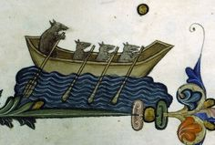 Rats rowing a boat on the edge of decorative border element in the margins of a page from the Pontifical of Guillaume Durand, Avignon, before 1390 (Paris, Bibliothèque Sainte-Geneviève, ms. 143, fol. 77v)