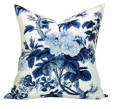 Schumacher Pyne Hollyhock pillow cover in Indigo