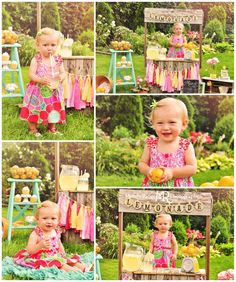 Labai dau mini fotosesiju pavizdziu Lemonade stand styled mini session // wooden stand, lemons, pink, yellow, teal, chalkboard, scale, rag garland, sweets // St. Charles, IL // by Mandy Ringe Photography