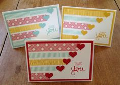 trio of greeting cards featuring washi tape lines ... punched hearts at the ends could be other small ikons too ... easy layout ...