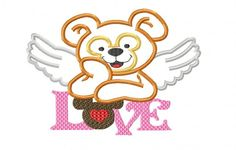 Design - Duffy Love Bear Applique Embroidery Design - 5x7 and 6x10  Beginner Friendly Level. $3.50, via Etsy.