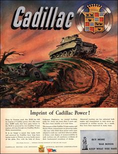 "1945 Vintage Ad CADILLAC M-24 Armored Tank, WWII Collectible, V-type Engine Hydra-Matic Transmission Frameable Military Art 10""x13"""